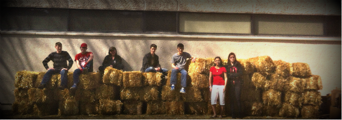 Jasper Place High School students sitting on straw bales that will be used for a permaculture school garden.
