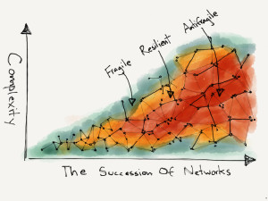 Networks Under Succession from fragile to resilient to antifragile.