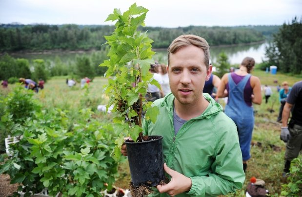 Dustin Bajer holding a potted black current at a food forest installation in 2014. Site is located in MacKinnion ravine on the edge of the North Saskatchewan River.