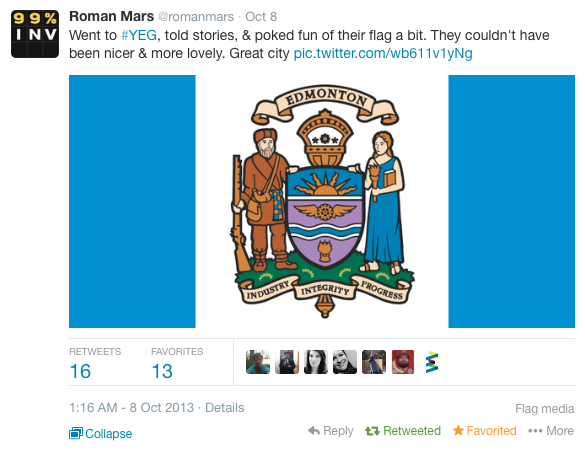 Roman Mars from 99 Percent Invisible pokes fun at the Edmonton flag.