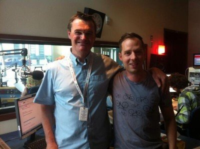 CBC reporter and Beekeeper Dustin Bajer at the Edmonton CBC Studio