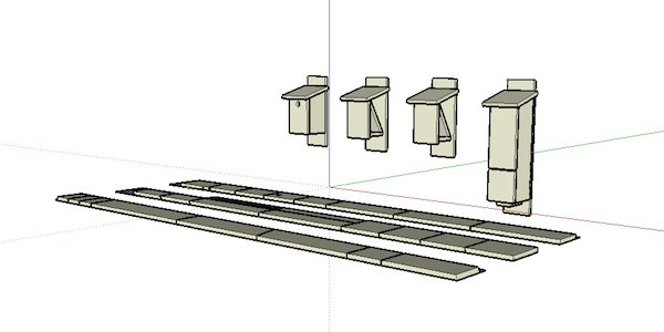 SketchUp model and board layout for a birdhouse, bat box, and bee hotel.